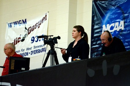 Kelly Robey, films a game at the NCAA Division II Tournament.