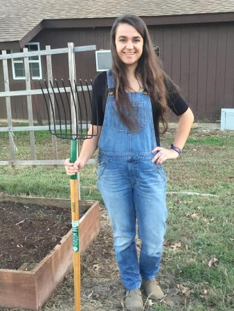 Union University Garden founder and junior psychology major Heather Dockery stands at the garden site. | Photo by Anna Claire Sewell