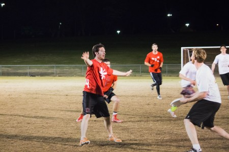 Ivan Isaacs, sophomore conservation biology major, plays defense during a Jaxx practice.