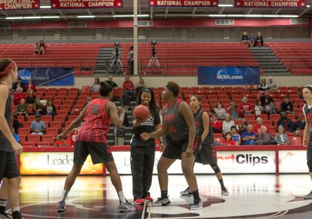The Lady Bulldogs get ready for the tip off at Bulldog Madness. | Photo by Morgan Morfe, Staff Photographer