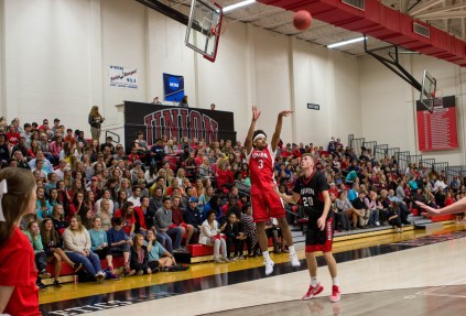Tray Boyd III takes a shot at Bulldog Madness. | Photo by Morgan Morfe, Staff Photographer