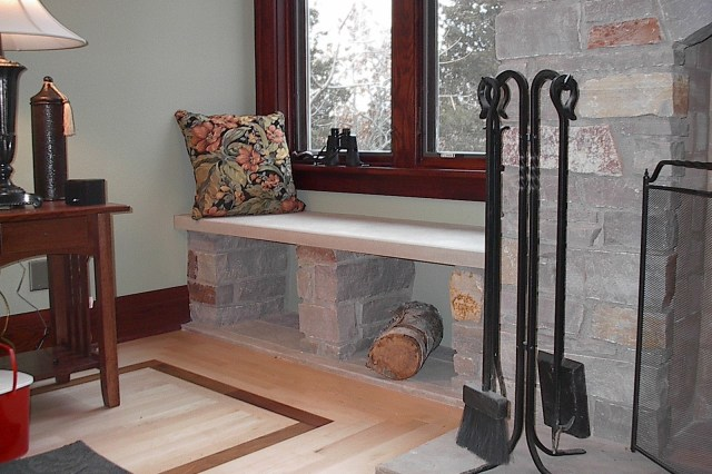 fireplace, bench