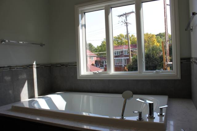 soaking tub, remodeled bathroom