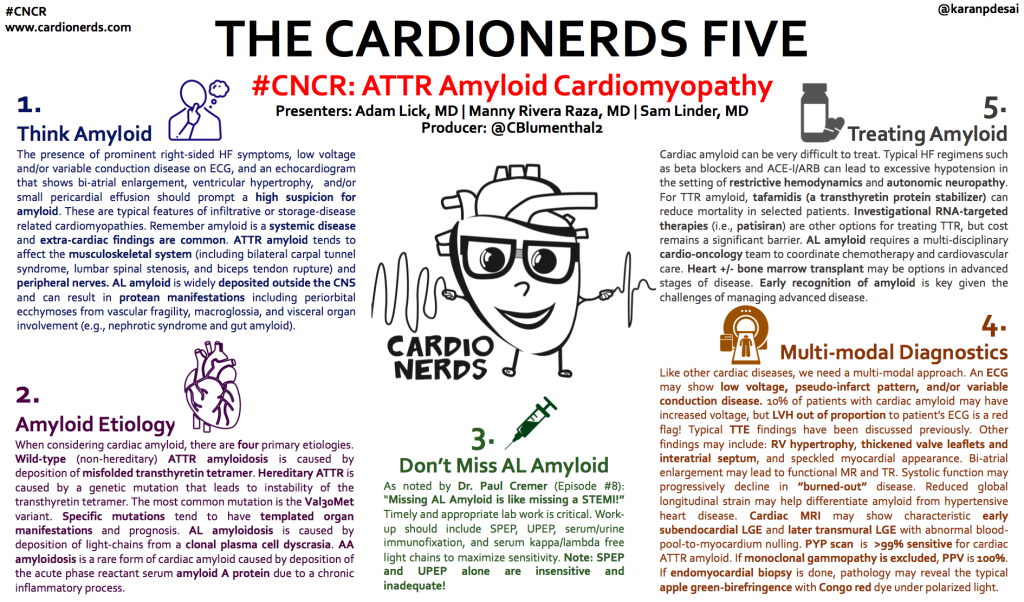 "#CNCR  www.cardionerds.com  1.  Think Amyloid  THE CARDIONERDS FIVE  O #CNCR: ATTR Amyloid Cardiomyopathy  Presenters: Adam Lick, MD I Manny Rivera Raza, MD I Sam Linder, MD  @karanpdesai  5.  Treating Amyloid  The presence of prominent right-sided HF symptoms, low voltage  and/or variable conduction disease on ECG, and an echocardiogram  that shows bi-atrial enlargement, ventricular hypertrophy, and/or  small pericardial effusion should prompt a high suspicion for  amyloid. These are typical features of infiltrative or storage-disease  related cardiomyopathies. Remember amyloid is a systemic disease  and extra-cardiac findings are common. ATTR amyloid tends to  affect the musculoskeletal system (including bilateral carpal tunnel  syndrome, lumbar spinal stenosis, and biceps tendon rupture) and  peripheral nerves. AL amyloid is widely deposited outside the CNS  and can result in protean manifestations including periorbital  ecchymoses from vascular fragility, macroglossia, and visceral organ  involvement (e.g., nephrotic syndrome and gut amyloid).  2.  Amyloid Etiology  When considering cardiac amyloid, there are four primary etiologies.  Wild-type (non-hereditary) ATTR amyloidosis is caused by  deposition of misfolded transthyretin tetramer. Hereditary ATTR is  caused by a genetic mutation that leads to instability of the  transthyretin tetramer. The most common mutation is the Va130Met  variant. Specific mutations tend to have templated organ  manifestations and prognosis. AL amyloidosis is caused by  deposition of light-chains from a clonal plasma cell dyscrasia. AA  amyloidosis is a rare form of cardiac amyloid caused by deposition of  the acute phase reactant serum amyloid A protein due to a chronic  inflammatory process.  Producer: @CBlumentha12  CARDIO  NERDS  3,  Don't Miss AL Amyloid  As noted by Dr. Paul Cremer (Episode #8):  ""Missing AL Amyloid is like missing a STEMI!""  Timely and appropriate lab work is critical. Work-  up should include SPEP, UPEP, serum/urine  immunofixation, and serum kappa/lambda free  light chains to maximize sensitivity. Note: SPEP  and UPEP alone are insensitive and  inadequate!  Cardiac amyloid can be very difficult to treat. Typical HF regimens such  as beta blockers and ACE-I/ARB can lead to excessive hypotension in  the setting of restrictive hemodynamics and autonomic neuropathy.  For TTR amyloid, tafamidis (a transthyretin protein stabilizer) can  reduce mortality in selected patients. Investigational RNA-targeted  therapies (i.e., patisiran) are other options for treating TTR, but cost  remains a significant barrier. AL amyloid requires a multi-disciplinary  cardio-oncology team to coordinate chemotherapy and cardiovascular  care. Heart +1- bone marrow transplant may be options in advanced  stages of disease. Early recognition of amyloid is key given the  challenges of managing advanced disease.  Multi-modal Diagnostics  Like other cardiac diseases, we need a multi-modal approach. An ECG  may show low voltage, pseudo-infarct pattern, and/or variable  conduction disease. 10% of patients with cardiac amyloid may have  increased voltage, but LVH out of proportion to patient's ECG is a red  flag! Typical TTE findings have been discussed previously. Other  findings may include: RV hypertrophy, thickened valve leaflets and  interatrial septum, and speckled myocardial appearance. Bi-atrial  enlargement may lead to functional MR and TR. Systolic function may  progressively decline in ""burned-out"" disease. Reduced global  longitudinal strain may help differentiate amyloid from hypertensive  heart disease. Cardiac MRI may show characteristic early  subendocardial LGE and later transmural LGE with abnormal blood-  pool-to-myocardium nulling. P YP scan is sensitive for cardiac  ATTR amyloid. If monoclonal gammopathy is excluded, PPV is 100%.  If endomyocardial biopsy is done, pathology may reveal the typical  apple green-birefringence with Congo red dye under polarized light."