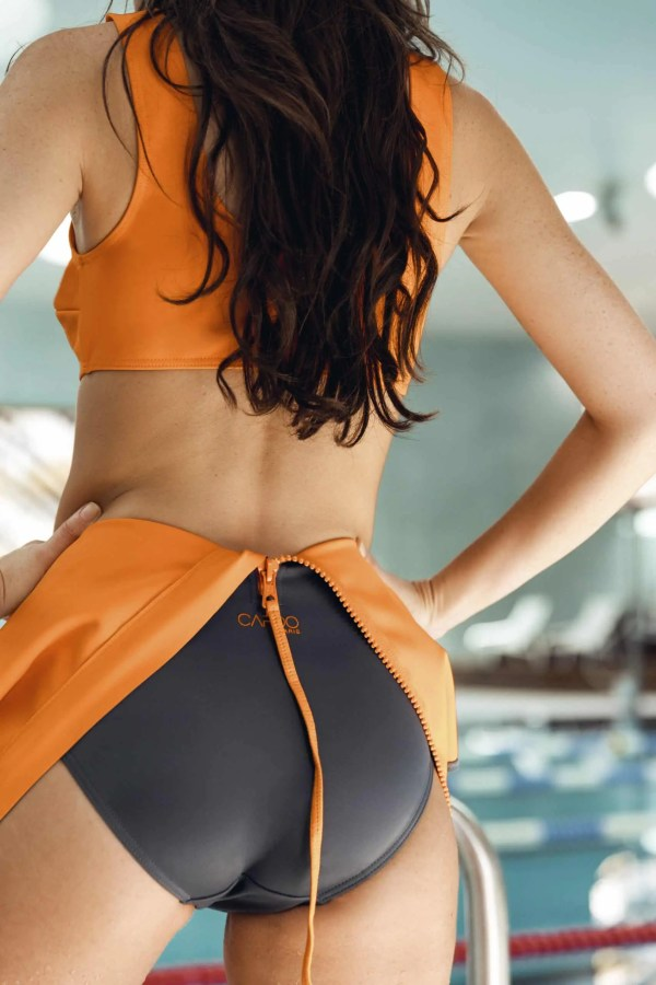 CARDODIVE grey swimsuit with orange zip CARDO Paris swimming pool beach swimwear pretty elegant comfy french