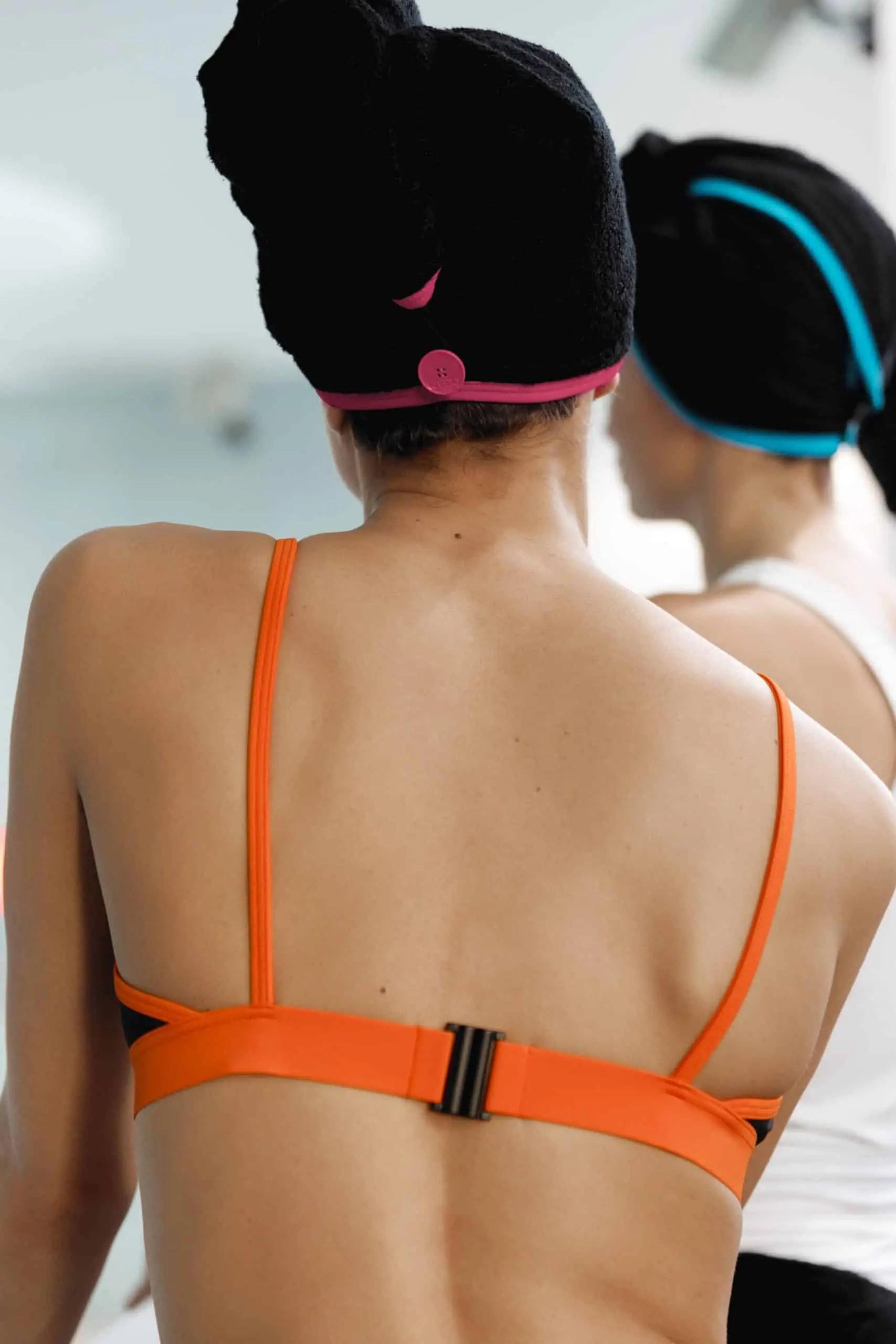 CARDOTICO Serviette cheveux eponge noire rose CARDO Paris piscine swimwear joli élégant confortable français