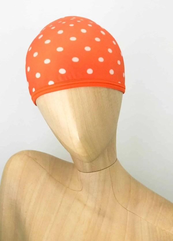 Bonnet de bain Orange Pois CARDO Paris piscine maillot de bain déperlant joli élégant confortable français