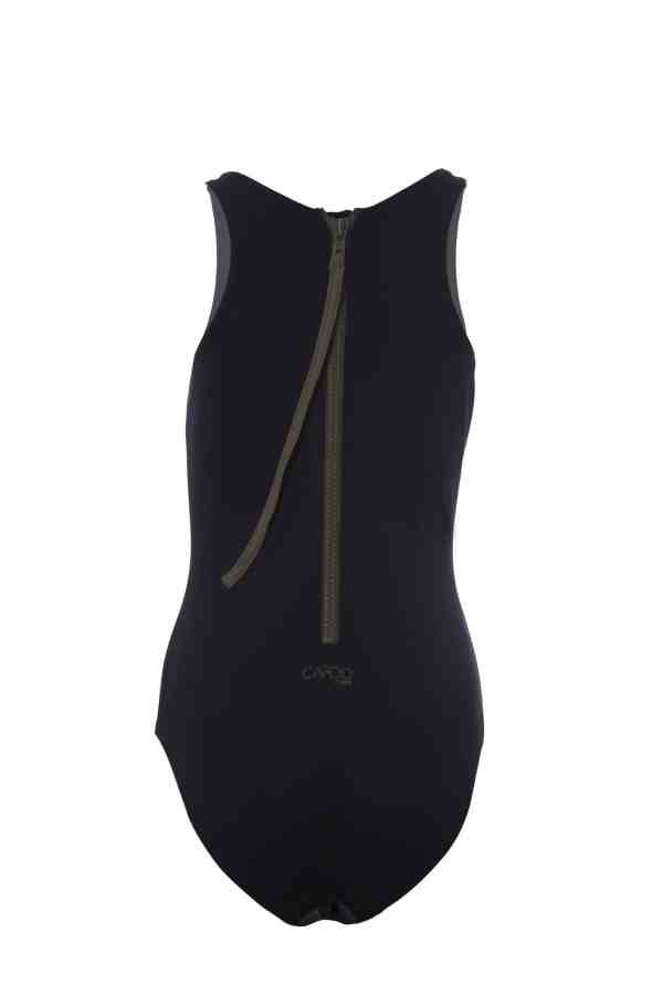 Maillot de bain une pièce femme CARDODIVE noir zip kaki CARDO Paris piscine swimwear joli élégant confortable français