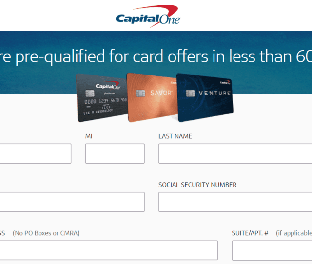 Screenshot Of Capital One Pre Approval Page
