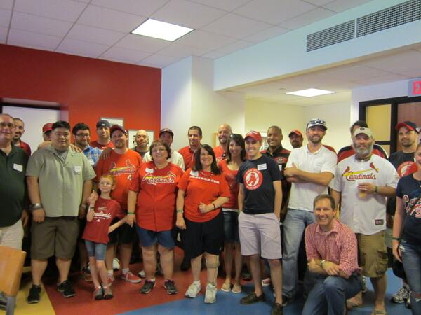 UCB bloggers pose for a photo at the 2014 Blogger Event at Busch Stadium on June 22, 2014. (Photo by Diane Schultz)