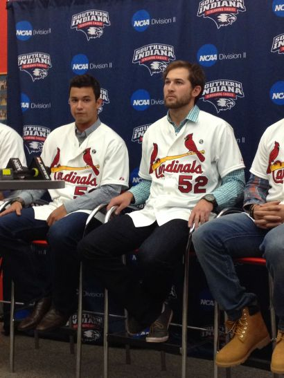 Cardinals pitcher Marco Gonzales (left) speaks to media at a Cardinal Caravan event in Evansville, Ind., on Jan. 16, 2015. (Photo by Cole Claybourn)
