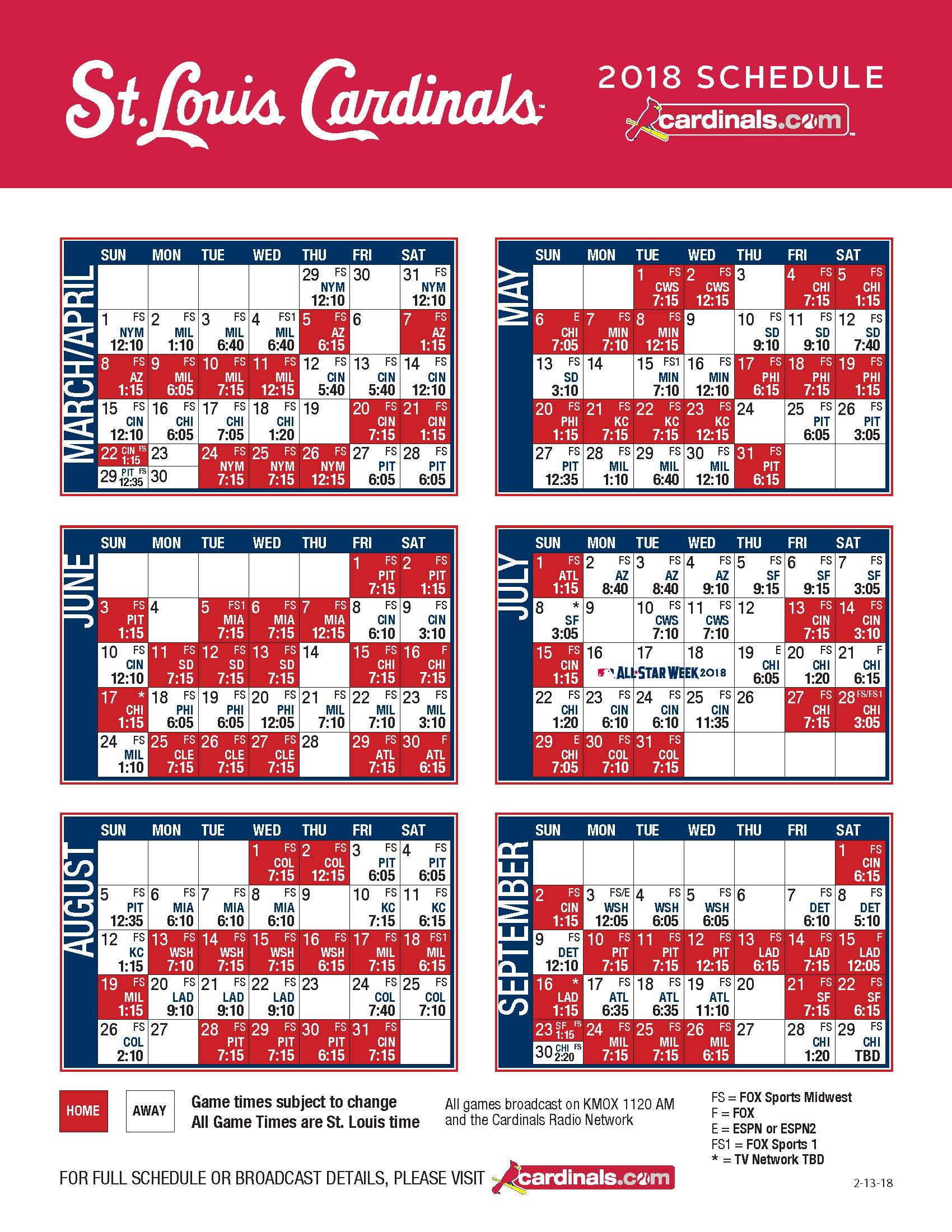 cardinals 2018 tv and radio broadcast schedule announced