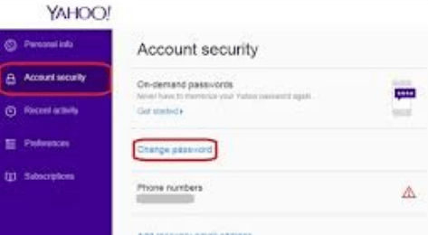 Yahoo Mail how To Change password