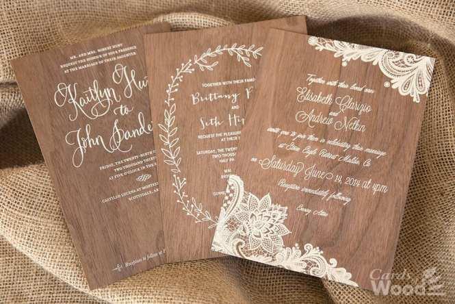 Carved Heart Wood Wedding Invites