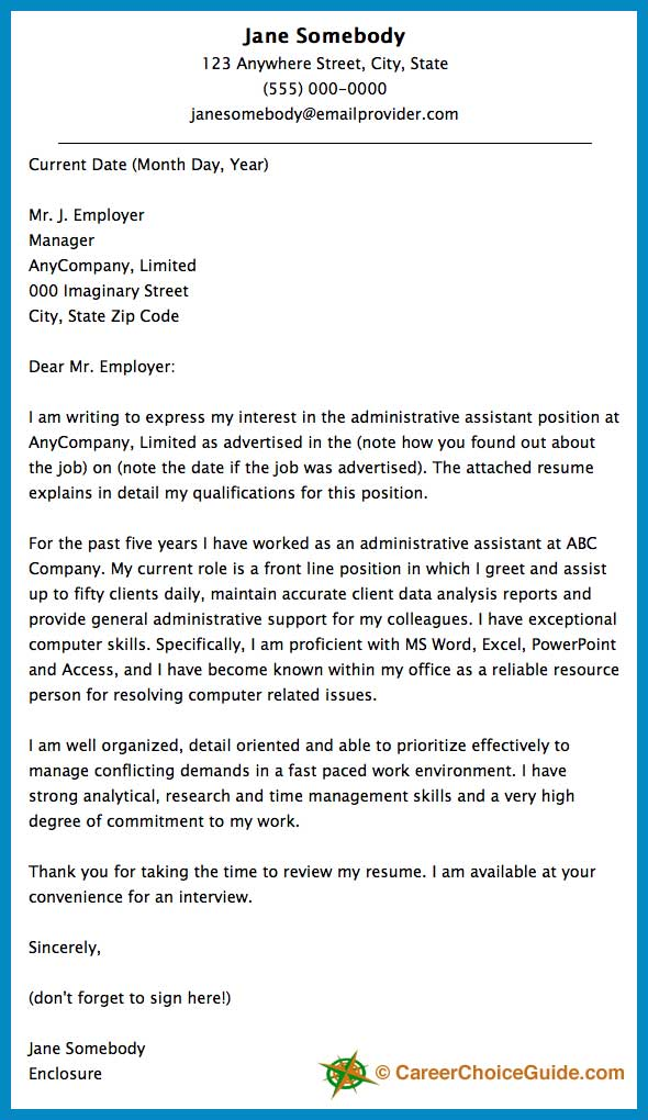 Format Of Cover Letter