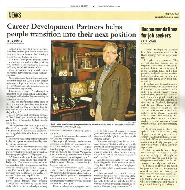 News Article about Career Development Partners by the Tulsa World April 24 2015