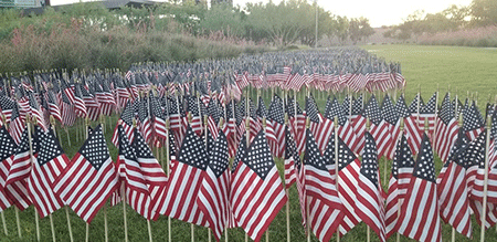 University of Phoenix flag-planting tribute