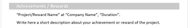 التقديرات / الإنجازات المهنية التي قمت بها Achievements / Rewards