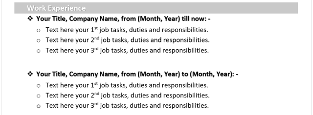 خبرات العمل Work Experiences and Internships