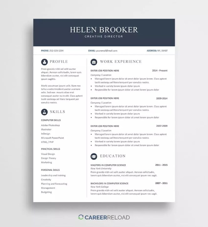 Free Cv Template For Word