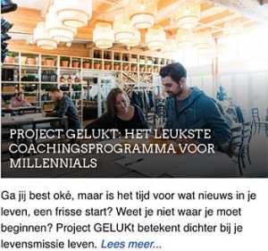Project GELUKt - het leukste coachingsprogramma voor millennials - persoonlijke ontwikkeling