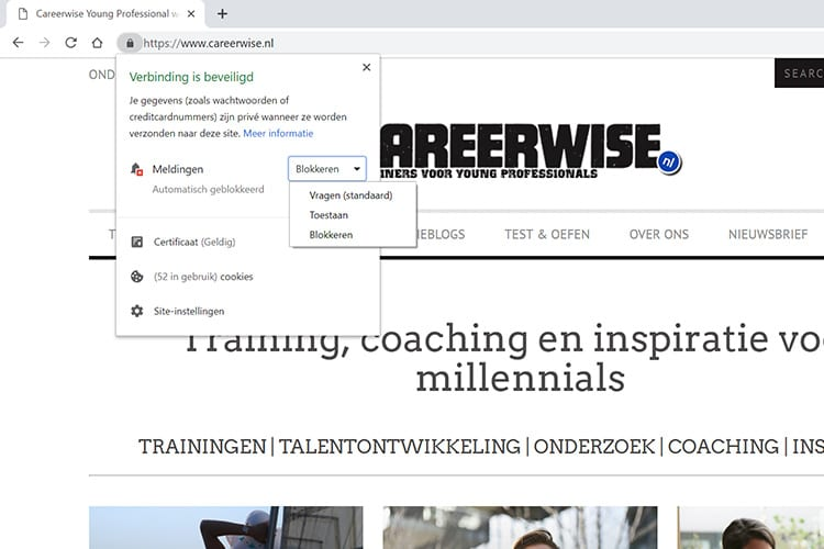 Careerwise browser notificaties blokkeren