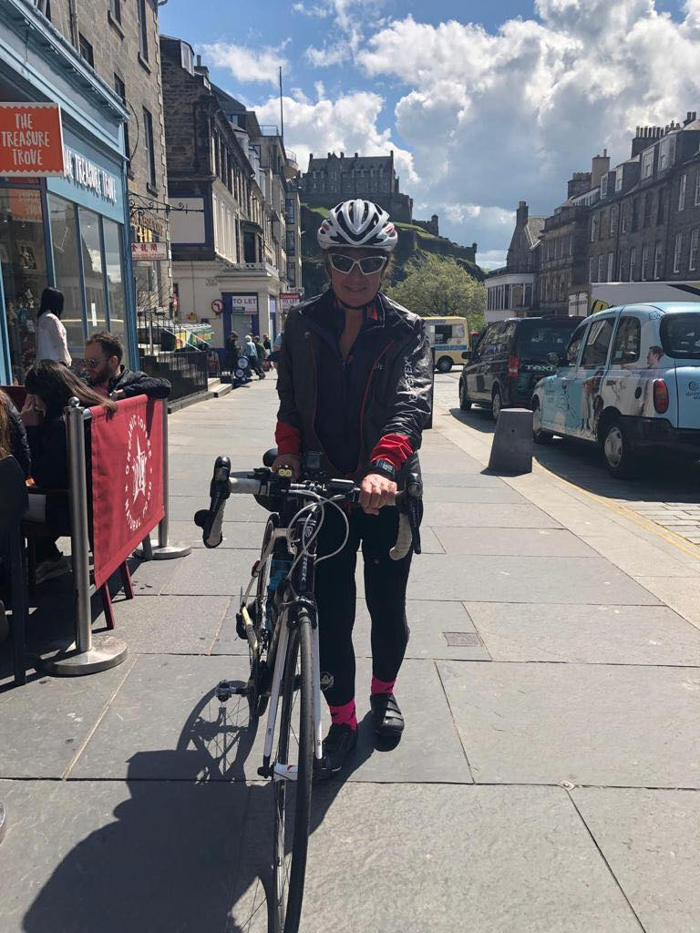Jacky Massos on her bike in Edinburgh
