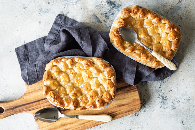 Recipe for Salmon, Prawn and Tarragon Pie with Butter Puff Pastry by Carême Pastry