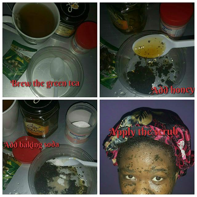 Green tea facial scrub for acne