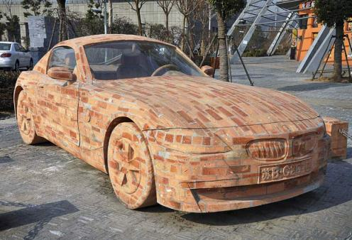 funny car photo with bmw made out of bricks