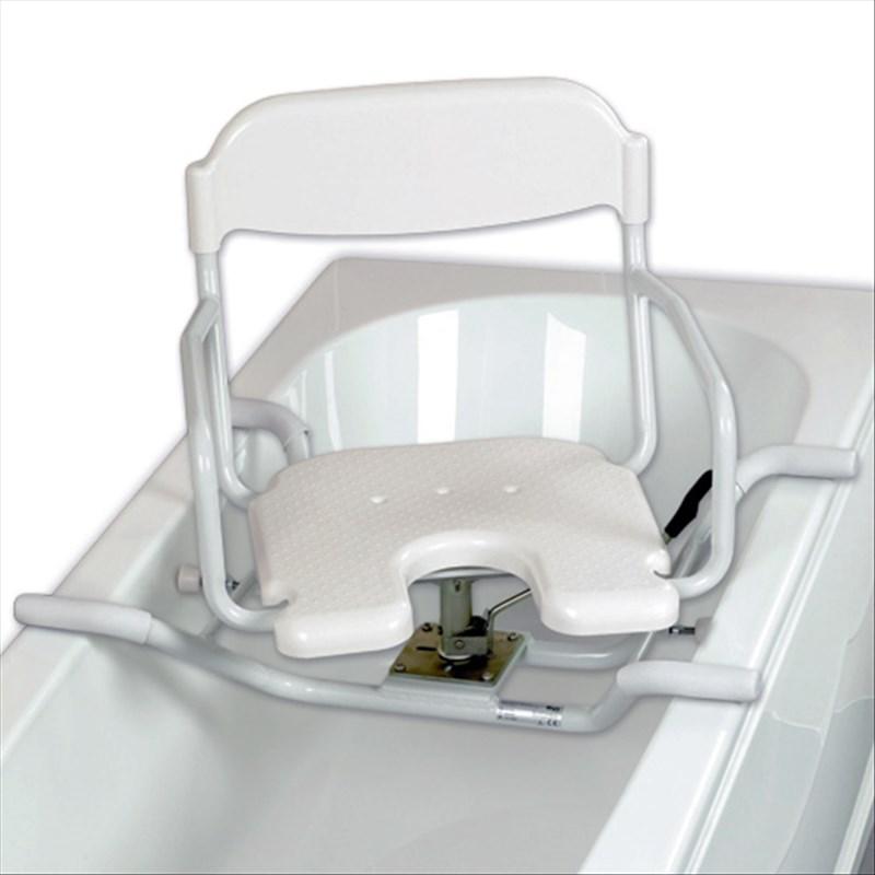 siege de bain pivotant pour baignoire avec decoupe