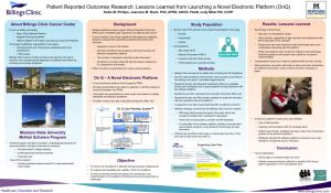 Patient Reported Outcomes Research: Lessons Learned from Launching a Novel Electronic Platform (OnQ)