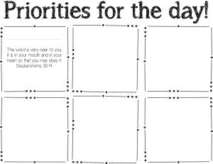 July Post It Note Priorities List