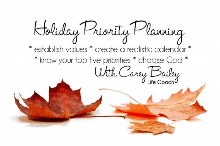 holiday priority planning