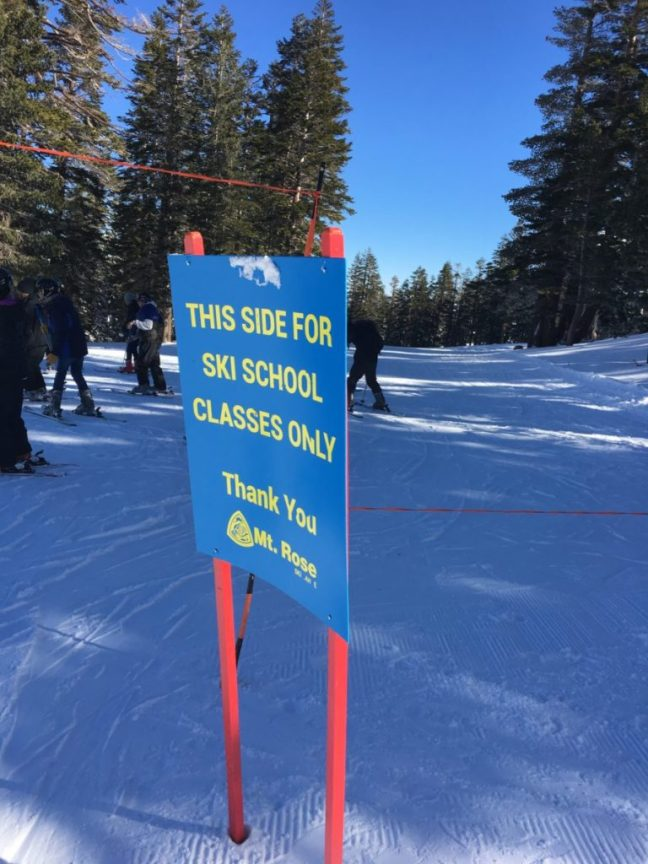 Mt. Rose Ski Tahoe does a great job keeping the kids separated when learning to ski. carful of kids, family-friendly ski destinations,