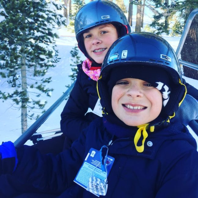 The carful of kids on the new Wizard lift on their way to the Enchanted Forest. Mt. Rose Ski Tahoe, Lake Tahoe, Family Ski,