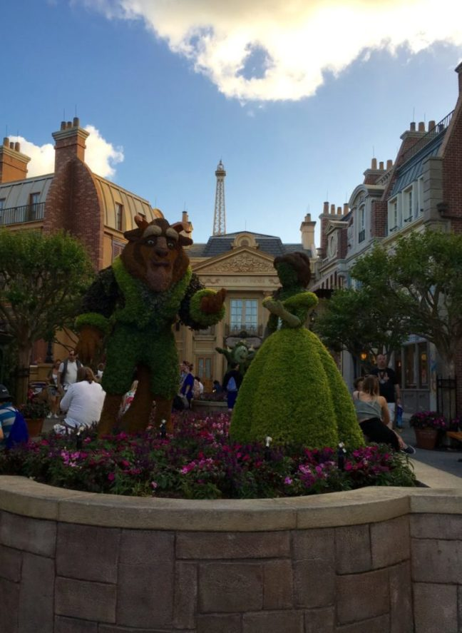 Belle and the Beast are crowd pleasers in Epcot's France. International Flower and Garden Festival