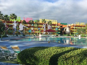 The atmosphere at the Pop Century Resort is FUN. Resort Review Walt Disney World,