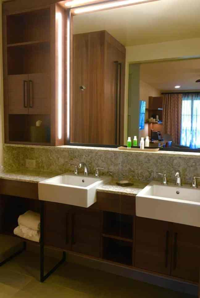 The bathroom offers lots of space while staying at the Coronado Springs Resort.