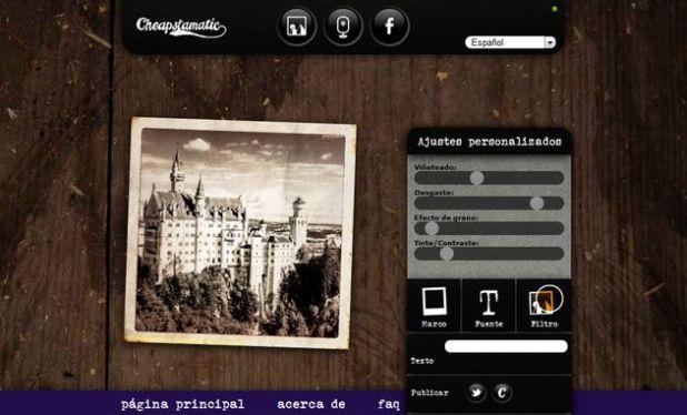 Editar fotografias online con Cheapstamatic
