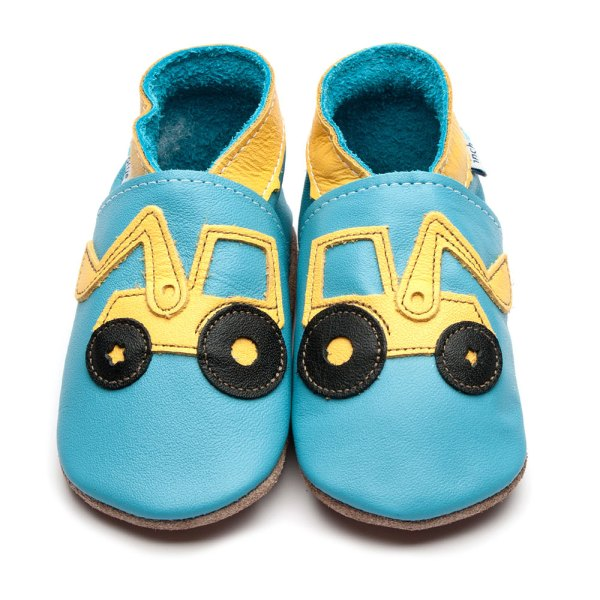 bright blue moccasin soft ole shoe with bright yellow digger applique