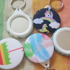 cloth nappy keyrings made from recycled cloth nappies, mirrored on reverse