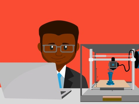 Image of man with laptop and 3-D printer by Mohamed Hassan from Pixabay