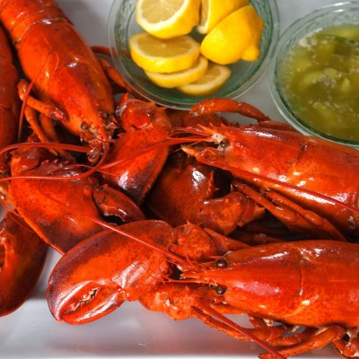 Boiled Lobsters with Scallion-Pepper Butter