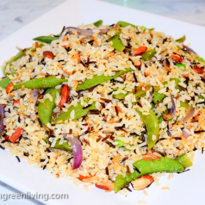 Wild Rice Pilaf with Snap Peas and Almonds