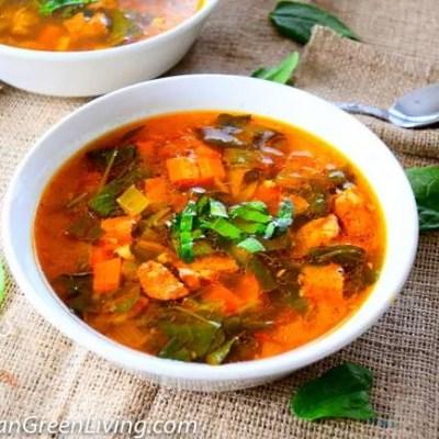 Spanish chickpea soup with chorizo, paprika and saffron