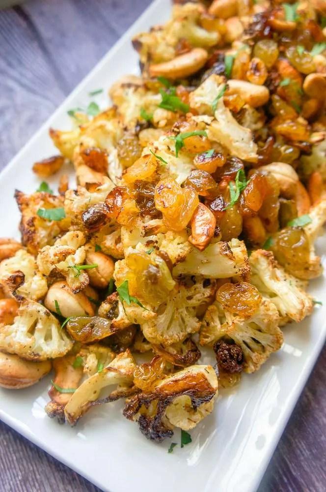 Roasted Cauliflower with Cashews and Raisins