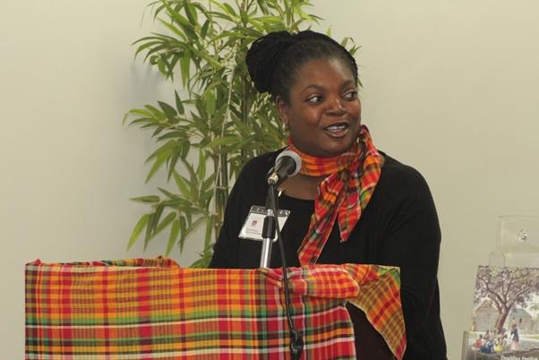 Antigua and Barbuda National Association PRO Maxine Isaac introduces Dr Natasha Lightfoot. Photo courtesy CaribDirect