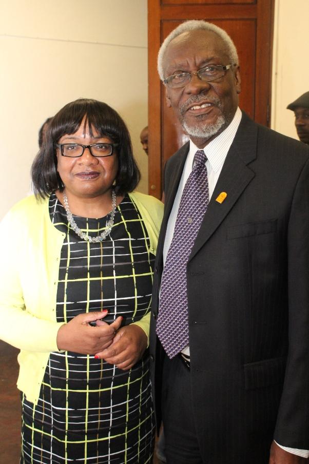 Diane Abbott MP and Former Jamaican PM PJ Patterson. Photo courtesy CaribDirect
