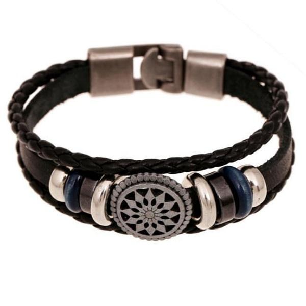 Leather Charm Wrap Bracelet for men